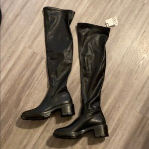 Zara Black Over The Knee Biker Boots
